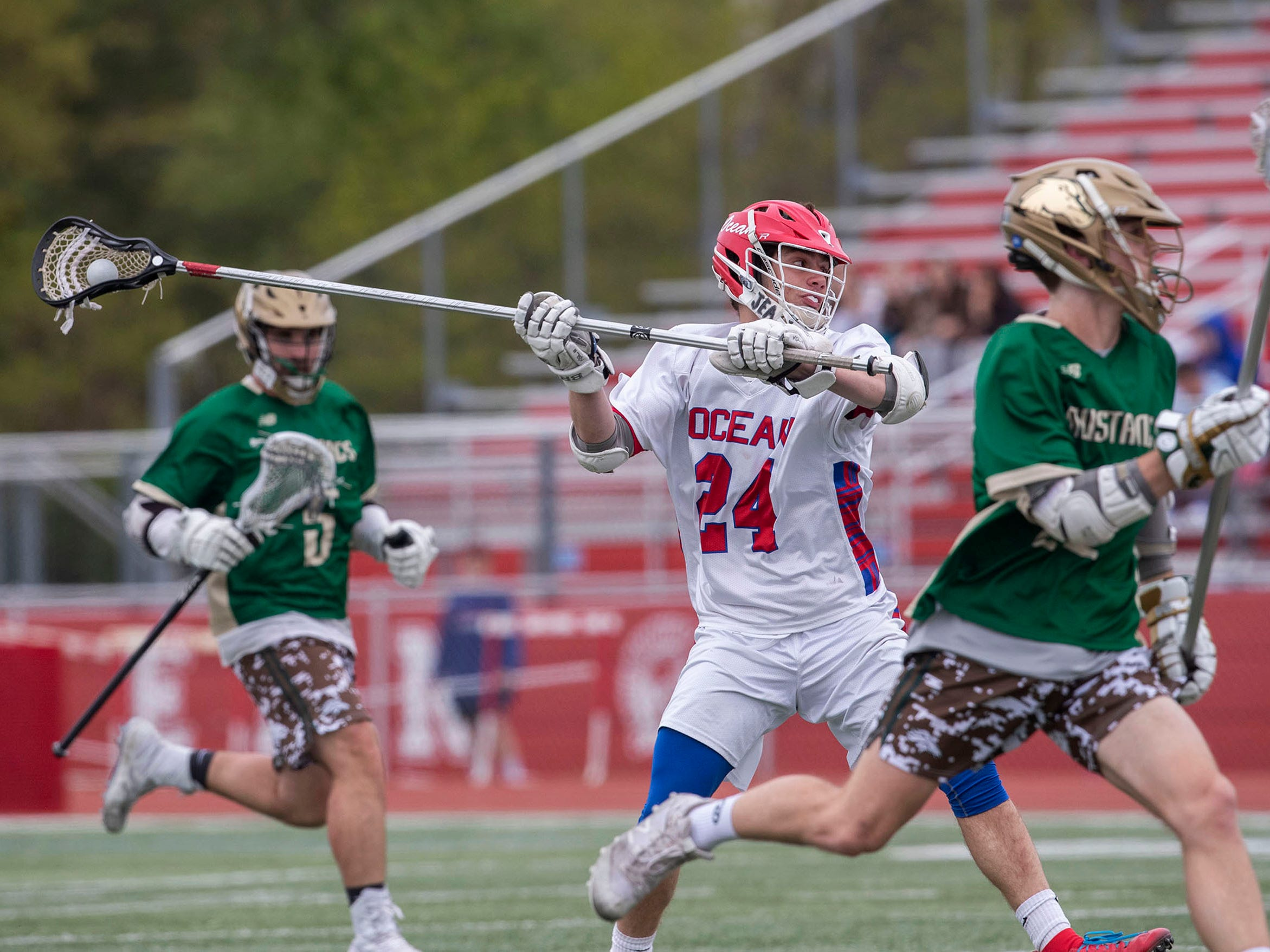 Ocean's Mike Kircher puts in a shot at the start of the second period during Brick Memorial Boys Lacrosse vs Ocean High School in Ocean Township NJ, on May 3, 2019.