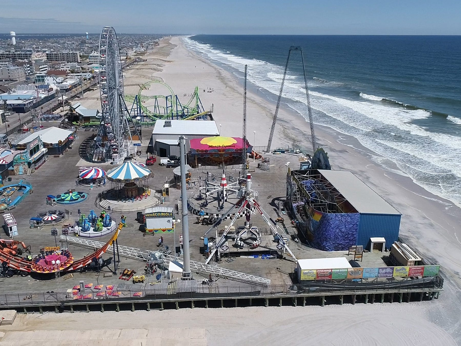 Rides are prepared for the summer season on Seaside Heights' Casino Pier Monday, May 6, 2019.