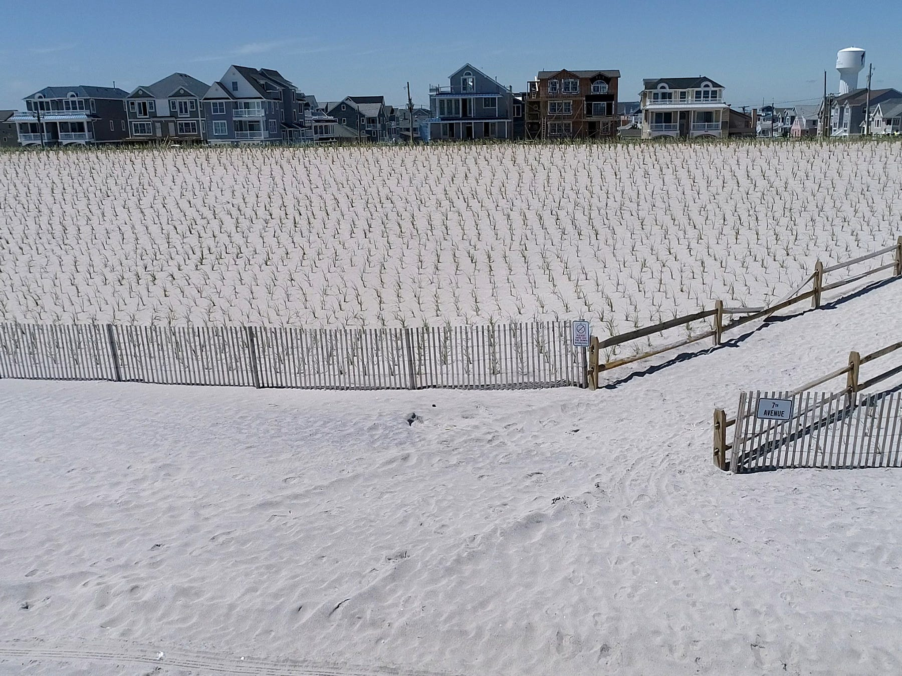 New dunes are shown along the Ortley Beach coastline Monday, May 6, 2019.