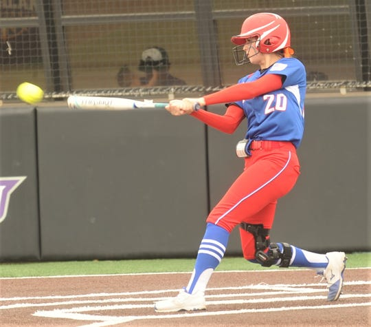 Gorman's Kelsie Guthery hits an RBI, sacrifice fly in the fourth inning against Lipan. The Lady Panthers won the Region II-1A semifinal playoff game 29-0 over Lipan in five innings Thursday, May 9, 2019, at ACU's Wells Field. It was a one-game playoff.