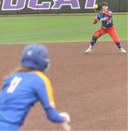 Gorman shortstop Kelsie Guthery, right, catches Lipan batter Erin Green's line drive for the final out in the fourth inning. The Lady Panthers won the Region II-1A semifinal playoff game 29-0 over Lipan in five innings Thursday, May 9, 2019, at ACU's Wells Field. It was a one-game playoff.