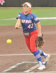 Gorman pitcher Caitlyn Clark throws a pitch to a Lipan batter in the fourth inning. Clark tossed a one-hitter in the Lady Panthers' 29-0 victory over Lipan in the Region II-1A semifinal playoff game Thursday, May 9, 2019, at ACU's Wells Field. The one-game playoff was stopped after five innings on the 10-run rule.