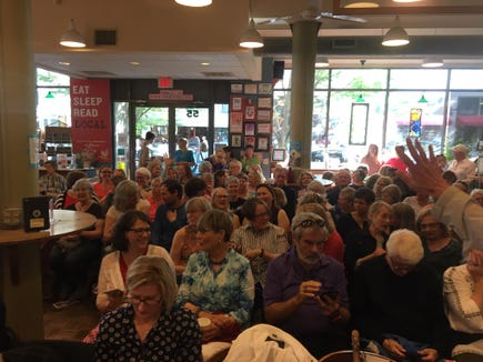 """A crowd of 200 filled Malaprop's Bookstore and Cafe May 8, 2019 in Asheville, to hear """"Where the Crawdads Sing"""" author Delia Owens."""