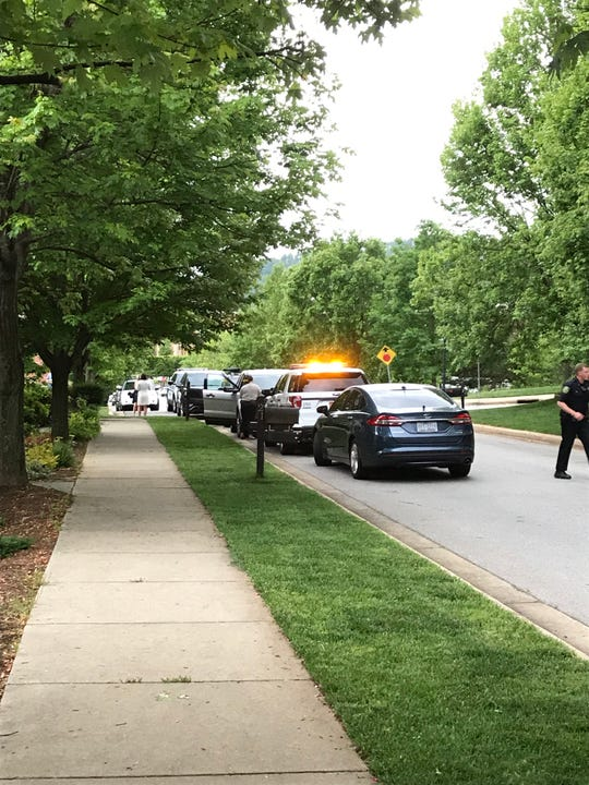 The scene at Dearborn Street in Biltmore Park, where there is a police presence following a reported kidnapping of a 7-week-old girl.