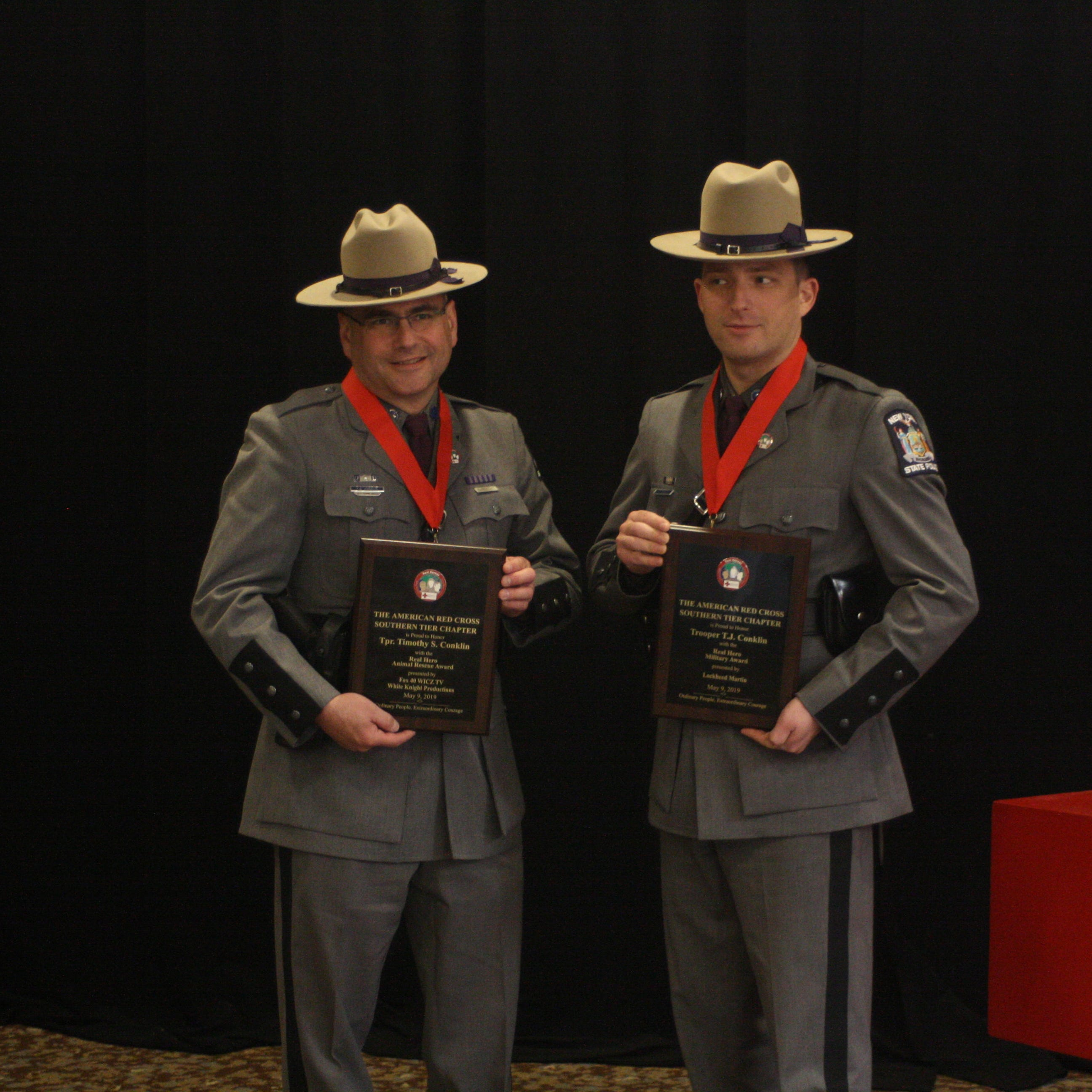 A father and his son, both New York state troopers, among the Red Cross 'Real Heroes'