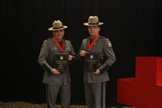Trooper Timothy S. Conklin and his son Trooper Timothy J. Conklin both receive Real Heroes awards from the American Red Cross of the Southern Tier on Thursday morning.