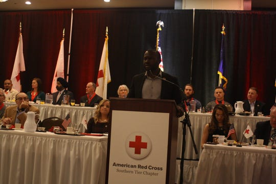 """""""Much like the saying, 'There's no """"I"""" in team,' there's no 'I' in the word hero,"""" William B. Reynolds III says during his keynote speech at the American Red Cross of the Southern Tier's 10th Annual Real Heroes Breakfast on Thursday morning."""