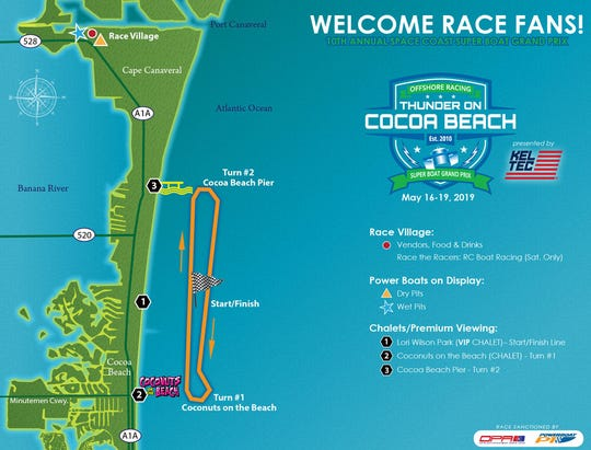 The official course map for the Thunder on Cocoa Beach event, which takes place with five races on Sunday, May 19. The course has been extended 1.2 miles, making it a 7-mile round trip.