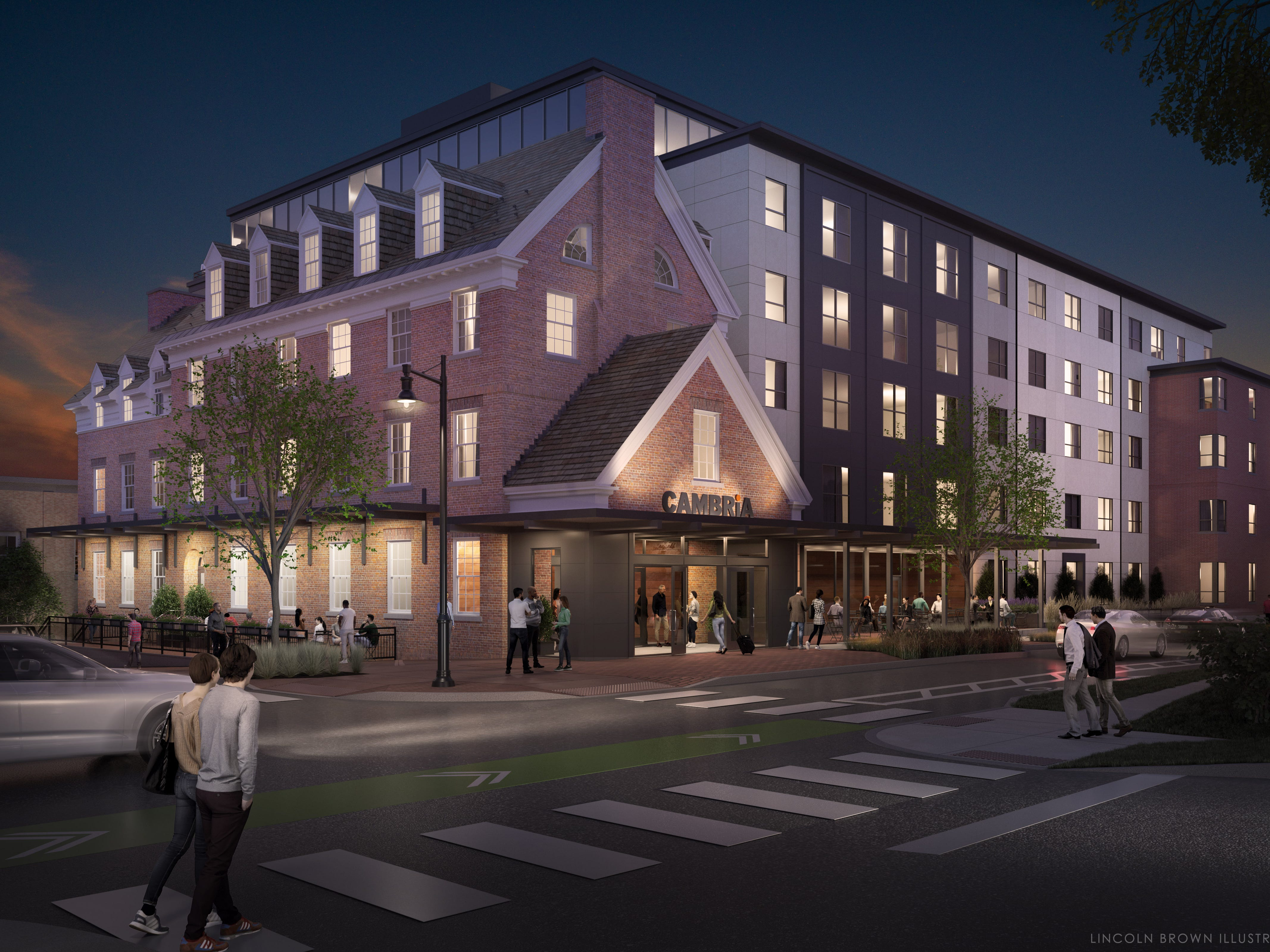 Dusk at the proposed Cambria Hotel in Burlington is seen in this rendering created by Lincoln Brown for Smith Buckley Architects.