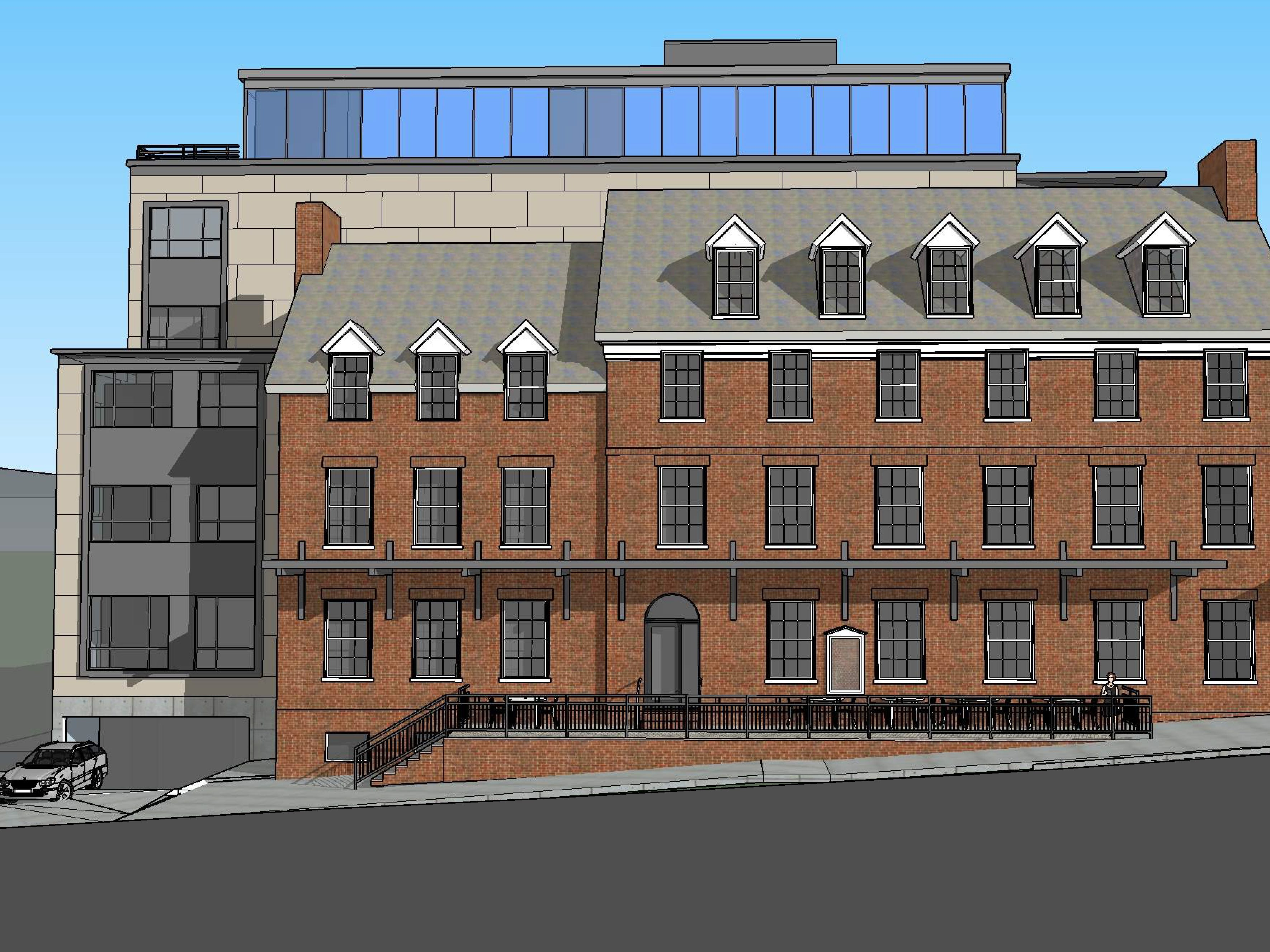 A view from the south, on College Street: The proposed Cambria Hotel at the old YMCA property in downtown Burlington is seen in this rendering created in March 2019 by Smith Buckley Architects.