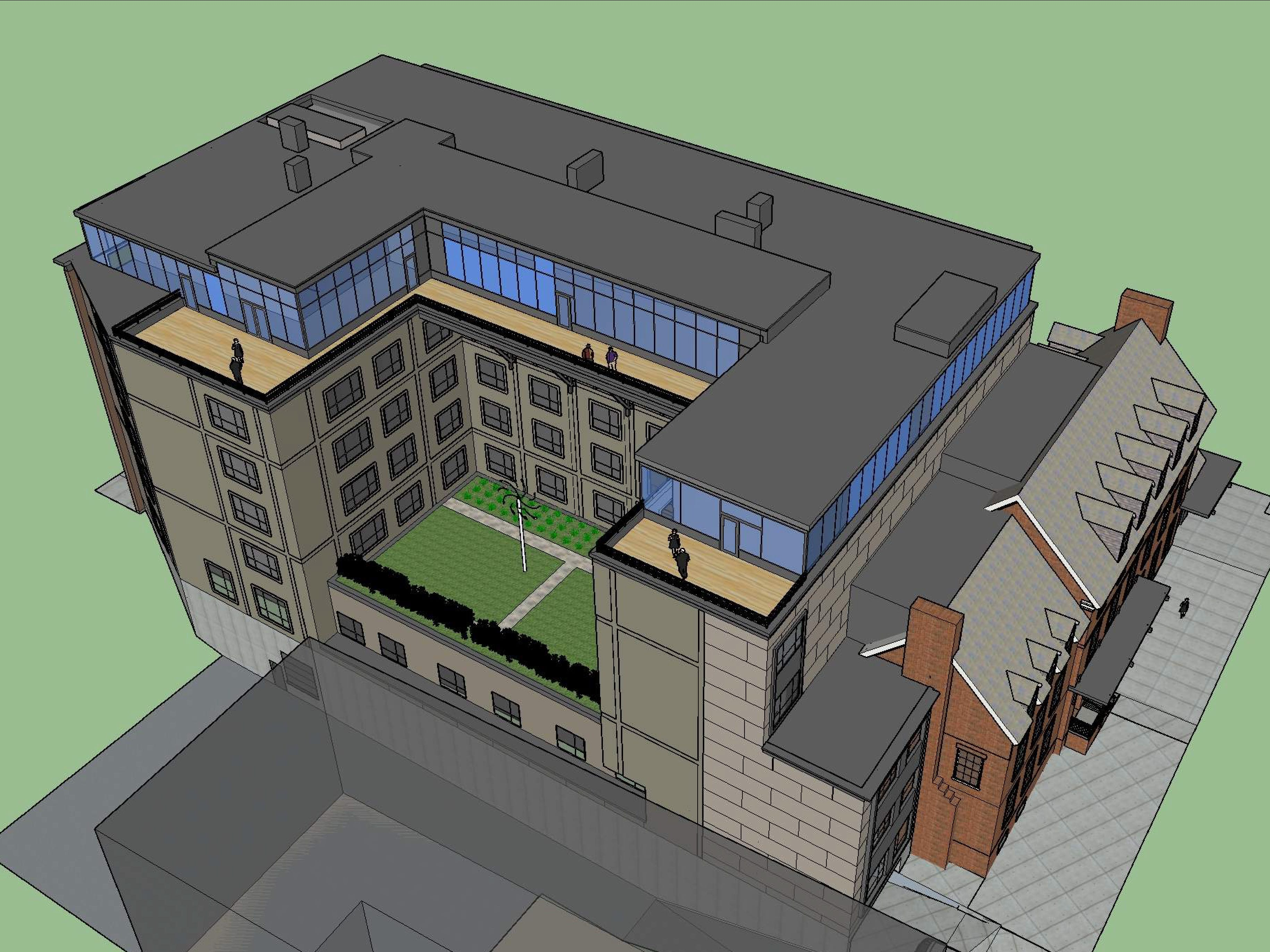 Aerial view, from the southwest: The proposed Cambria Hotel at the old YMCA property in downtown Burlington is seen in this rendering created in March 2019 by Smith Buckley Architects.