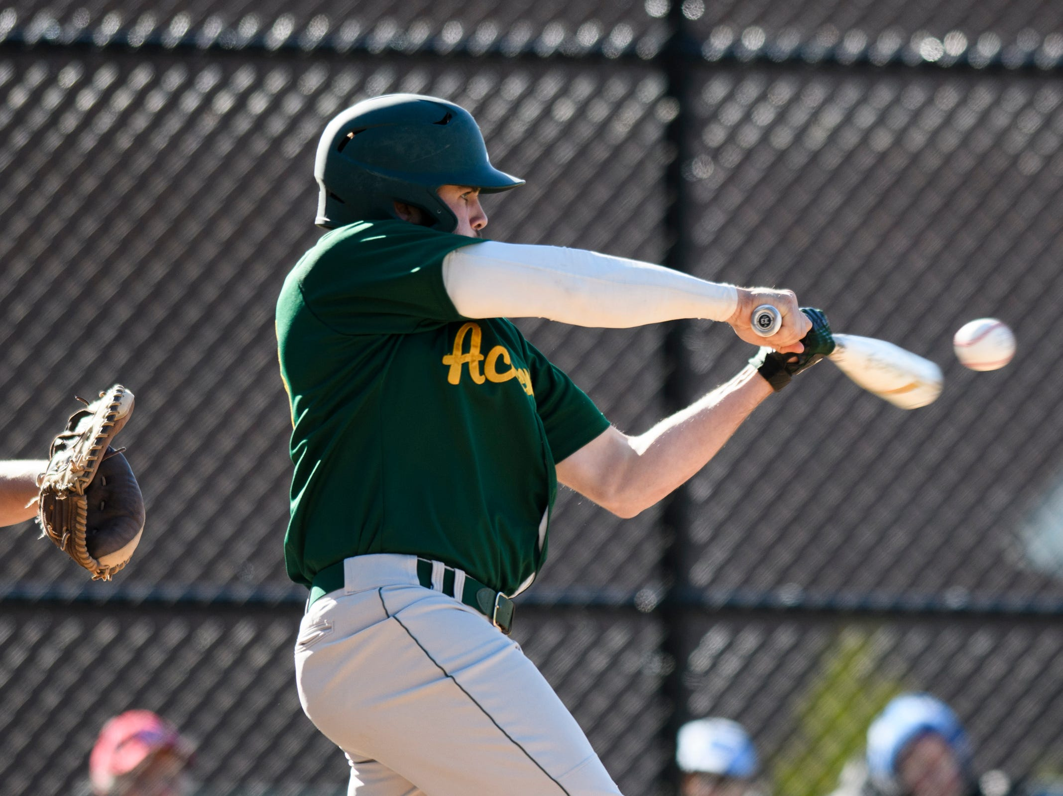 BFA's Dominic Liscinsky (13) hits the ball during the high school baseball game between BFA St. Albans and Rice at Rice Memorial High School on Wednesday afternoon May 8, 2019 in South Burlington, Vermont.