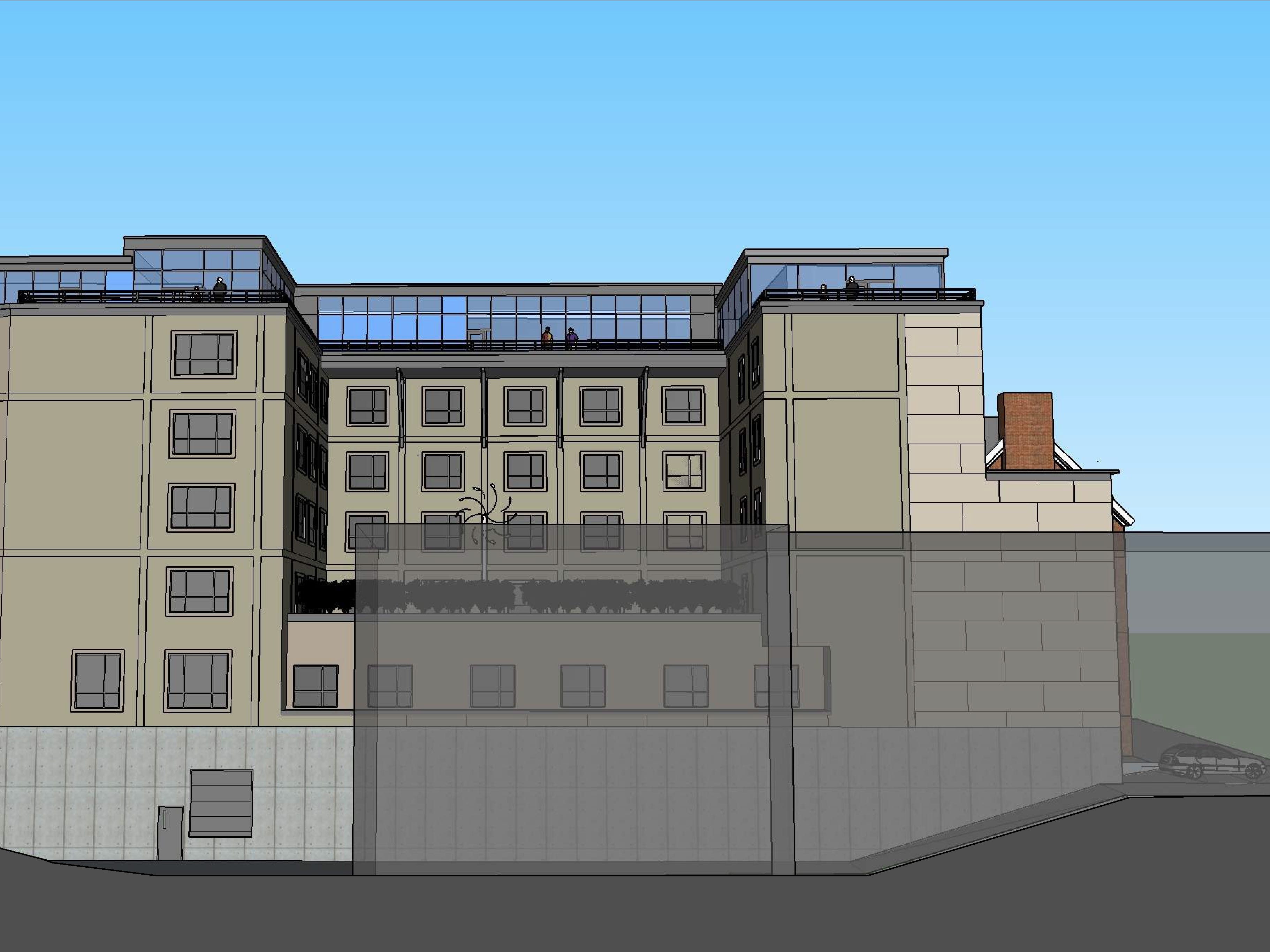 A elevation from the west: The proposed Cambria Hotel at the old YMCA property in downtown Burlington is seen in this rendering created in March 2019 by Smith Buckley Architects. The hotel would have a rooftop restaurant and bar and two floors of underground parking.