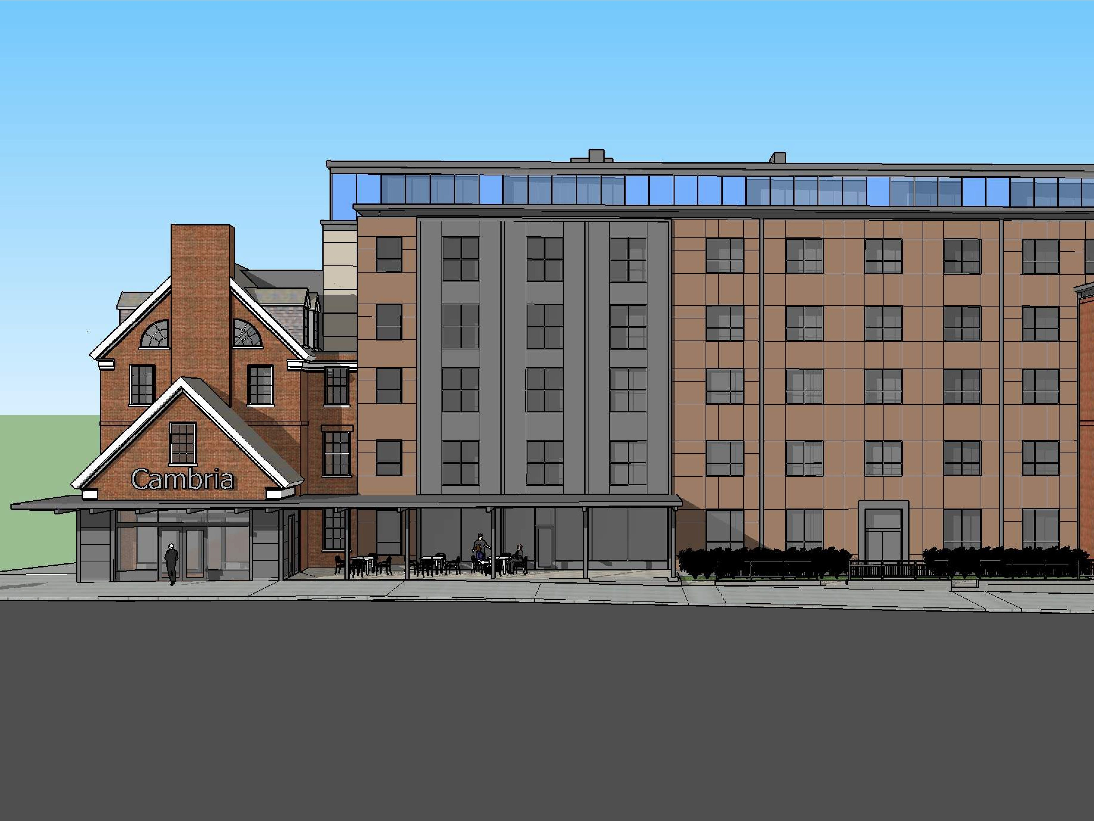 A view from the east, on South Union Street: The proposed Cambria Hotel at the old YMCA property in downtown Burlington is seen in this rendering created in March 2019 by Smith Buckley Architects.