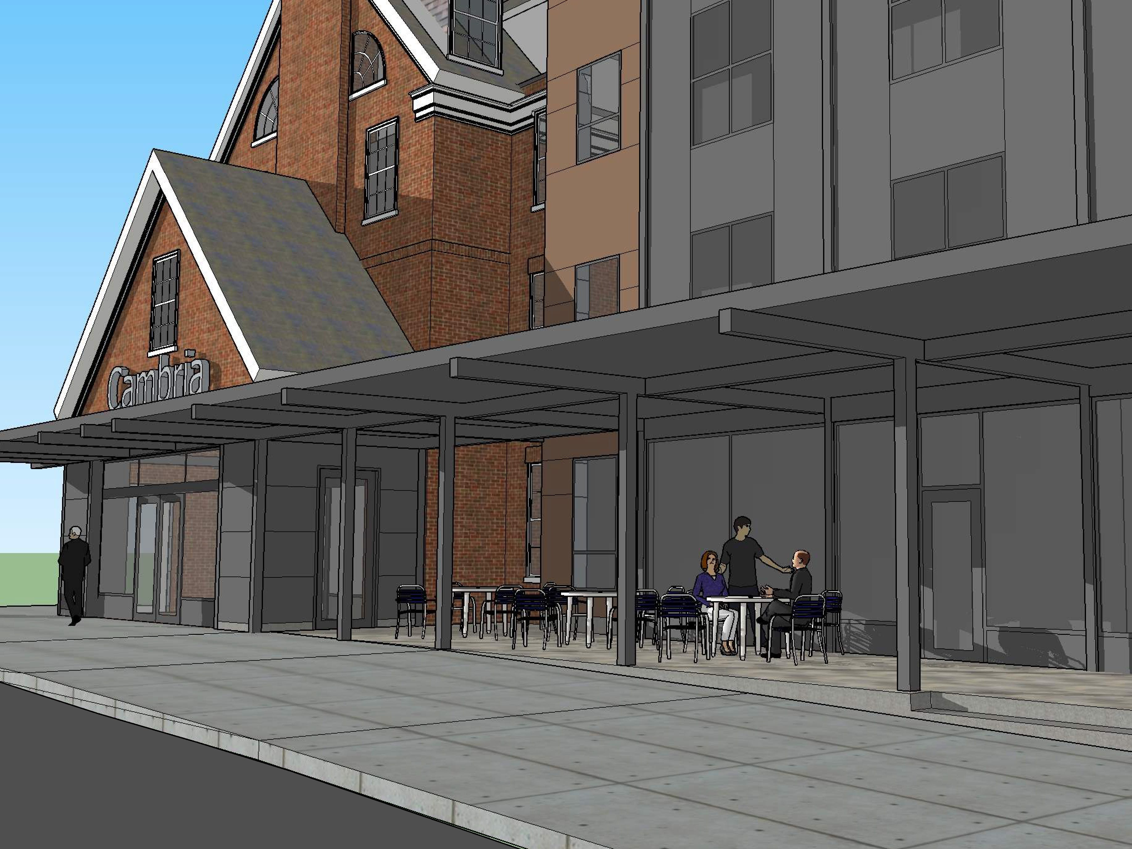 Detailed street view, from the northeast: The proposed Cambria Hotel at the old YMCA property in downtown Burlington is seen in this rendering created in March 2019 by Smith Buckley Architects.