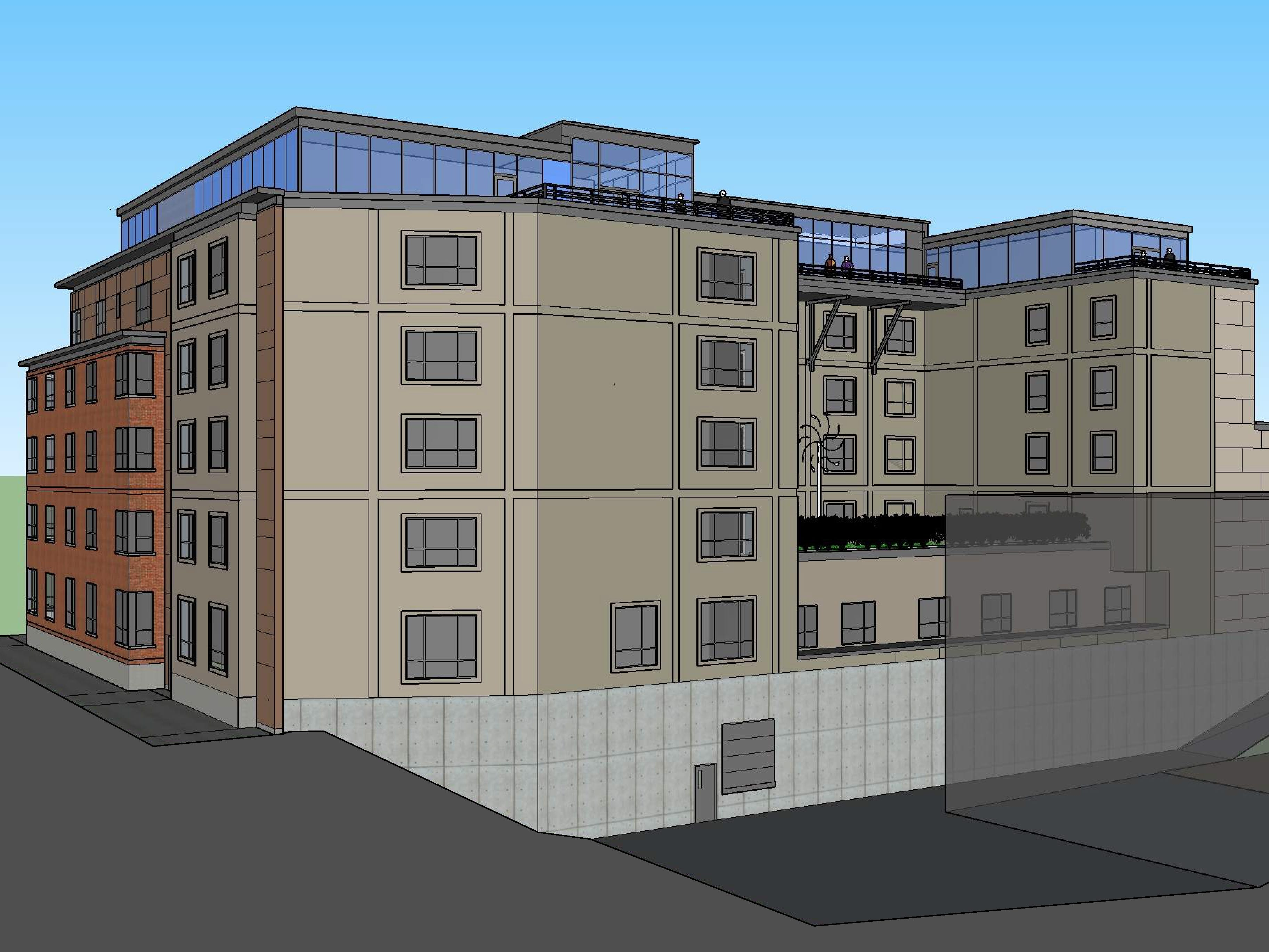 """A view from the northwest, from the """"City Market"""" parking lot: The proposed Cambria Hotel at the old YMCA property in downtown Burlington is seen in this illustration created in March 2019 by Smith Buckley Architects. The proposed hotel would have two stories of underground parking."""