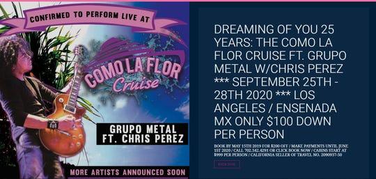 A screenshot shows a post made for a Como la Flor Cruise.