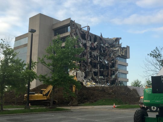 Demolition is underway at the former headquarters of Subaru of America in Cherry Hill.