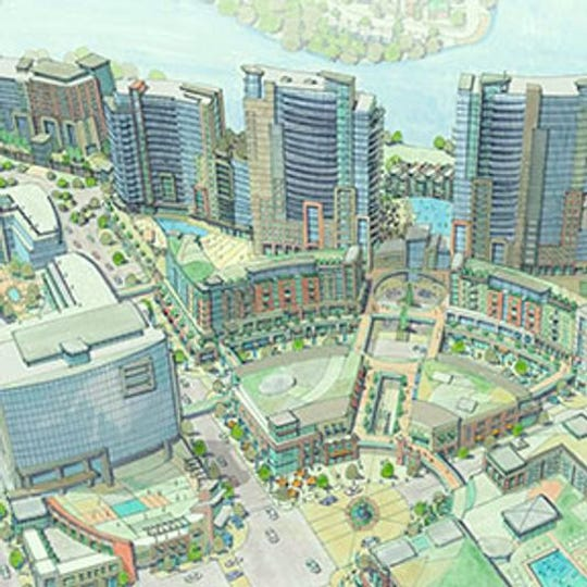 An artist's rendering of the planned mixed-used development at the Ovation site in Newport