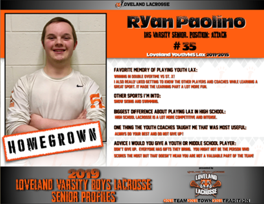 Ryan Paolino is a senior on Loveland's boys lacrosse team