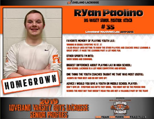 Ryan Paolino is a senior on Loveland's boys lacrosse team