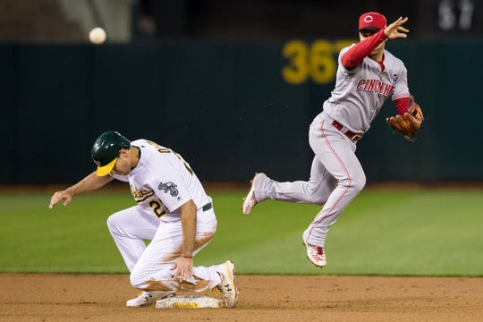 May 8, 2019; Oakland, CA, USA; Cincinnati Reds shortstop Jose Iglesias (4) throws to first base after tagging Oakland Athletics center fielder Ramon Laureano (22) for a double play in the fourth inning at Oakland Coliseum. Mandatory Credit: John Hefti-USA TODAY Sports
