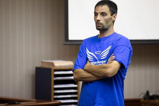 Jason Wesche, father of Hannah Wesche, speaks to the court during the sentencing of Lindsay Partin for the murder of a three-year-old, Hannah Wesche, on Thursday, May 9, 2019, in Hamilton, Ohio. Partin was sentenced to life in prison with the possibility of parol after 18 years.