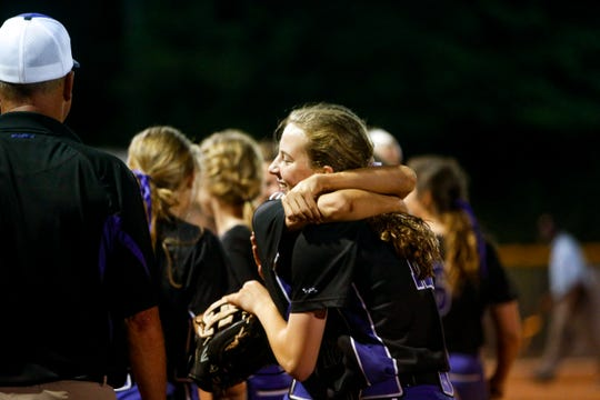 Clarksville players celebrate winning in a TSSAA softball game between Clarksville and Springfield at Clarksville High School in Clarksville, Tenn., on Wednesday, May 8, 2019.