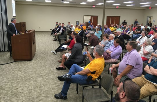 Montgomery County Mayor Jim Durrett addresses the crowd at a town hall on the Multi-Purpose Event Center, held at Civic Hall on Wednesday, May 8, 2019.