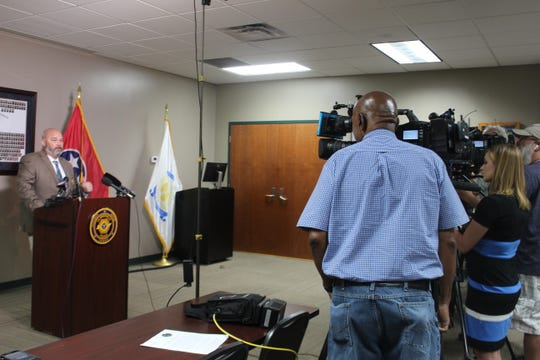 Detective Michael Ulrey speaks with media at a news conference on May 7, 2019, announcing an arrest in one of the Clarksville Police Department's cold cases, the 1996 murder of 23-year old Crista Bramlitt.