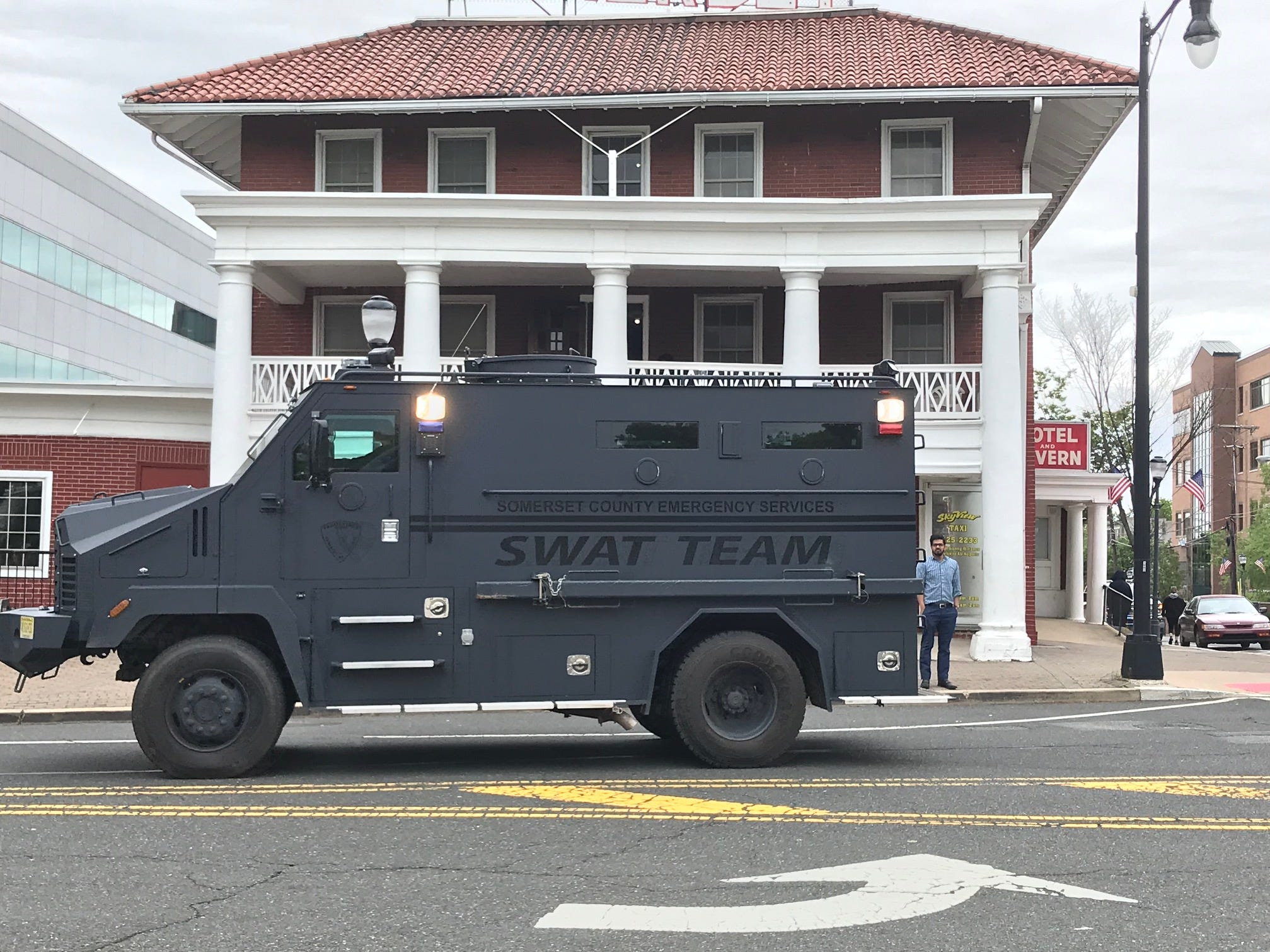 SWAT vehicle used to block traffic for riders in the Police Unity Tour as it traveled through Somerville.