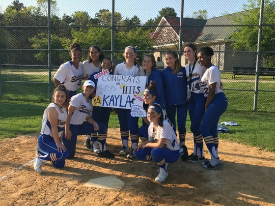 North Brunswick's Kayla Scher recorded her 100th career hit against Old Bridge on Wednesday, May 8, 2019.