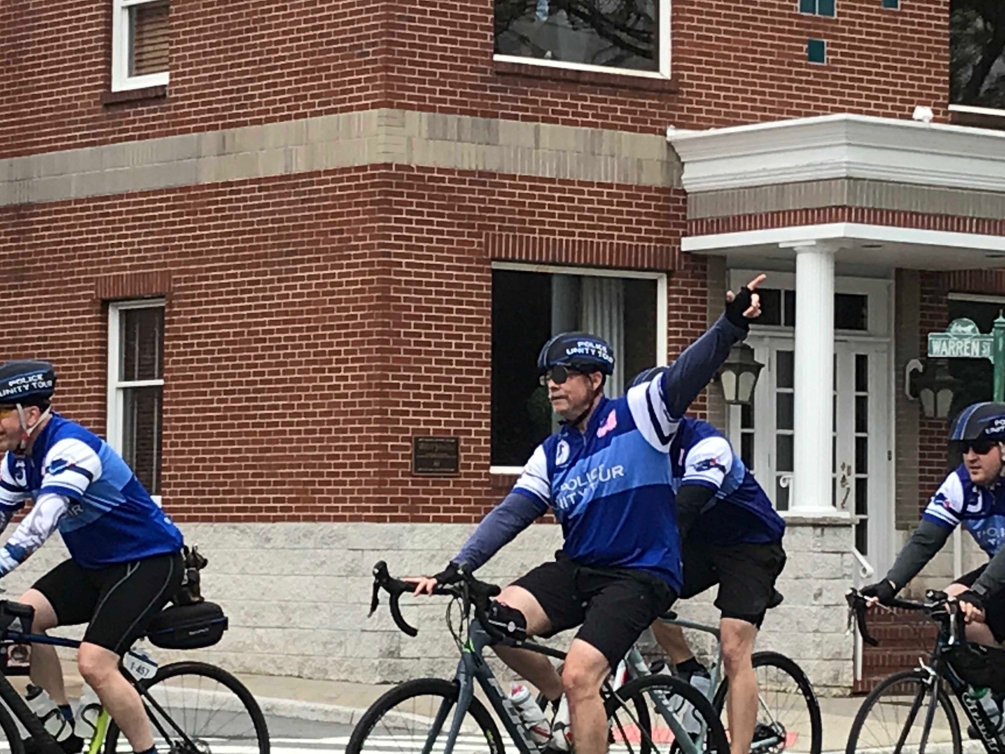 Hundreds of riders participated in the Police Unity Tour that traveled through Somerville on Thursday.