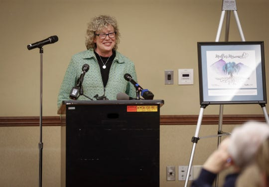 Laura Calderwood, mother of Mollie Tibbetts, thanks the gathering of people who showed up to spend the evening remembering her daughter on what would have been her 21st birthday at the Manatt's Community Center in Brooklyn, Iowa, on Wednesday, May 8, 2019.