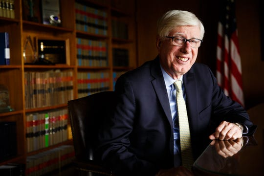 Iowa Attorney General Tom Miller at his office on Thursday, May 9, 2019, in Des Moines.
