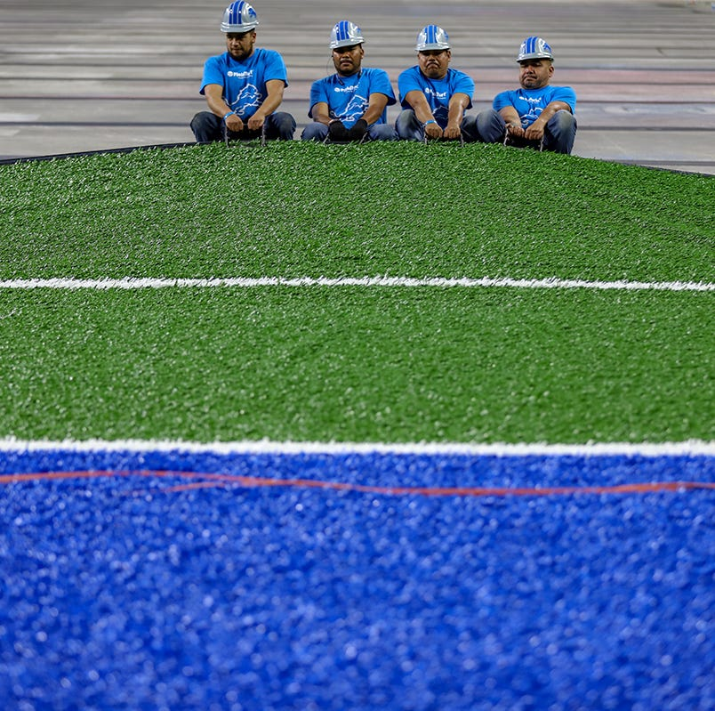 Ford Field gets new turf; Detroit Lions anticipate another makeover soon
