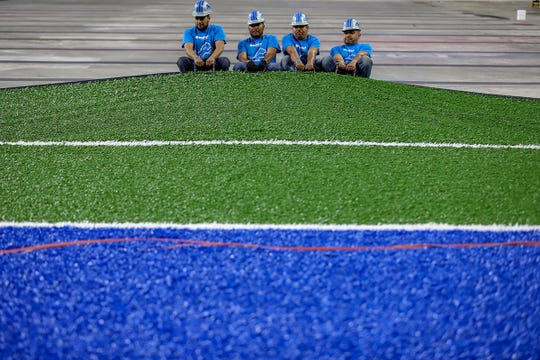 The Detroit Lions are replacing their artificial turf with FieldTurf Classic HD system at Ford Field in Detroit, photographed on Thursday, May 9, 2019. The installation is expected to take four weeks and started on May 1st.