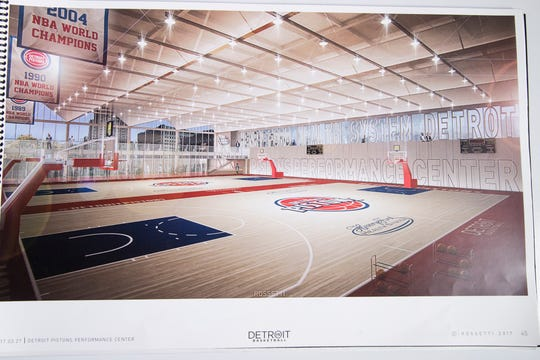 ROSSETTI's rendering of Henry Ford Detroit Pistons Performance Center in Detroit from March 27, 2017.