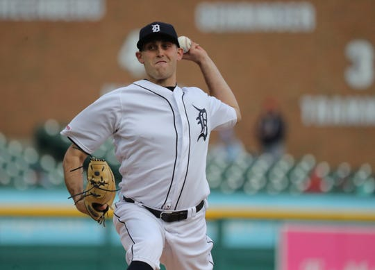 Detroit Tigers Matthew Boyd pitches against the Los Angeles Angels during first inning action Wednesday, May 8, 2019 at Comerica Park in Detroit, Mich.