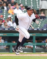 Detroit Tigers first baseman Miguel Cabrera singles against the Los Angeles Angels during the first inning  Wednesday, May 8, 2019 at Comerica Park.