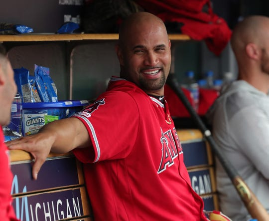 Albert Pujols after getting his 2,000th RBI on a homer against the Tigers during the third inning Thursday at Comerica Park.