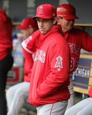 Angels manager Brad Ausmus in the dugout before the Tigers' 10-3 win on Wednesday, May 8, 2019, at Comerica Park.