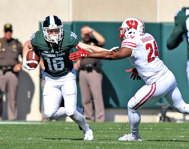 Michigan State receiver Brandon Sowards (16) has been granted a sixth year of eligibility by the NCAA.