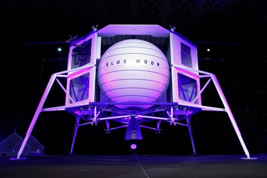 A model of Blue Origin's Blue Moon lunar lander sits onstage following an event featuring founder Jeff Bezos, Thursday, May 9, 2019, in Washington.