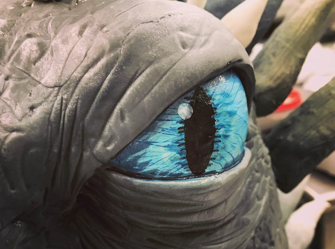 The finished eye has an ice-blue iris.