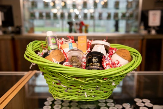 A Mother's Day gift basket for sale at The Reef marijuana dispensary, in Detroit, May 9, 2019.  The customizable basket, which runs between $200-$450, can include CBD infused moisturizers, oils, body rub, and facial scrubs.