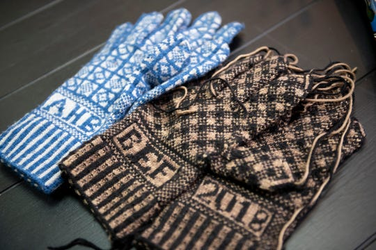 Knitted Sanquhar patterned gloves, personalized for couples, by Amy Houghtalin, manager of City Knits in Harrison Twp.
