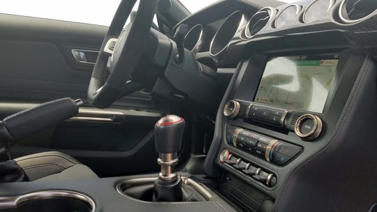 Gotta be a stick. The 2019 Ford Mustang GT350 comes only in a 6-speed manual — as opposed to the automatic, dual-clutch tranny in brother GT500.