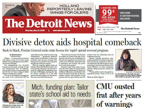 Front page of The Detroit News on Monday, May 6, 2019.