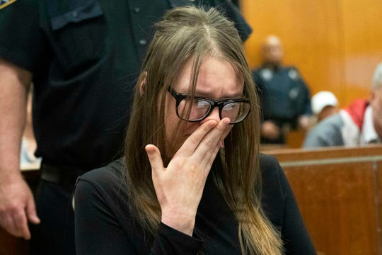 Anna Sorokin cries during sentencing at New York State Supreme Court in New York, Thursday, May 9, 2019.